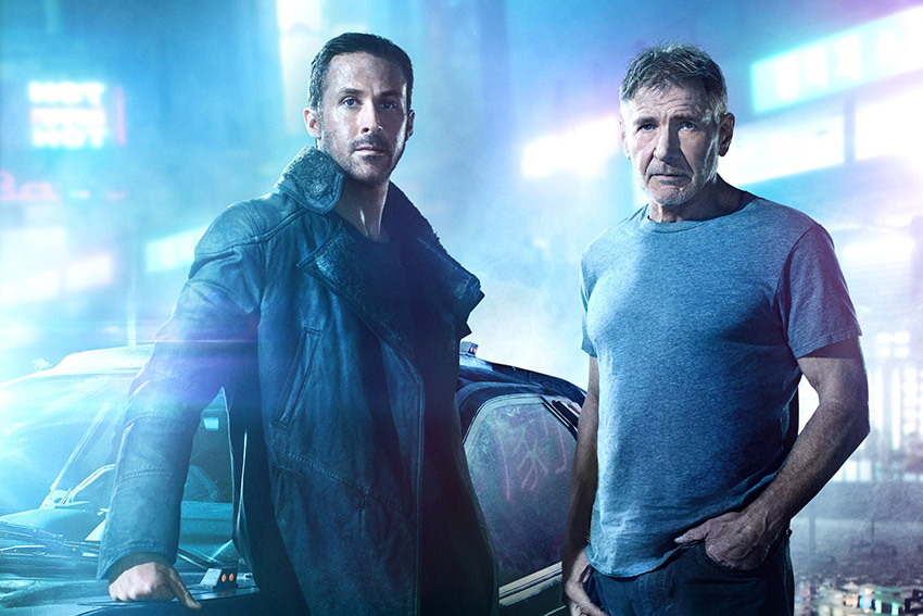 Ryan Gosling and Harrison Ford in BLADE RUNNER 2049