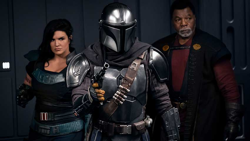 Pedro Pascal as the Mandalorian, Gina Carano and Carl Weathers