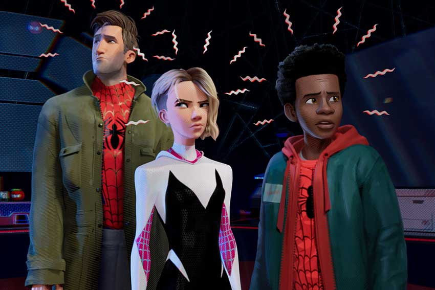 Spider man Into The Spider Verse Peter Parker Miles Morales Gwen Stacy